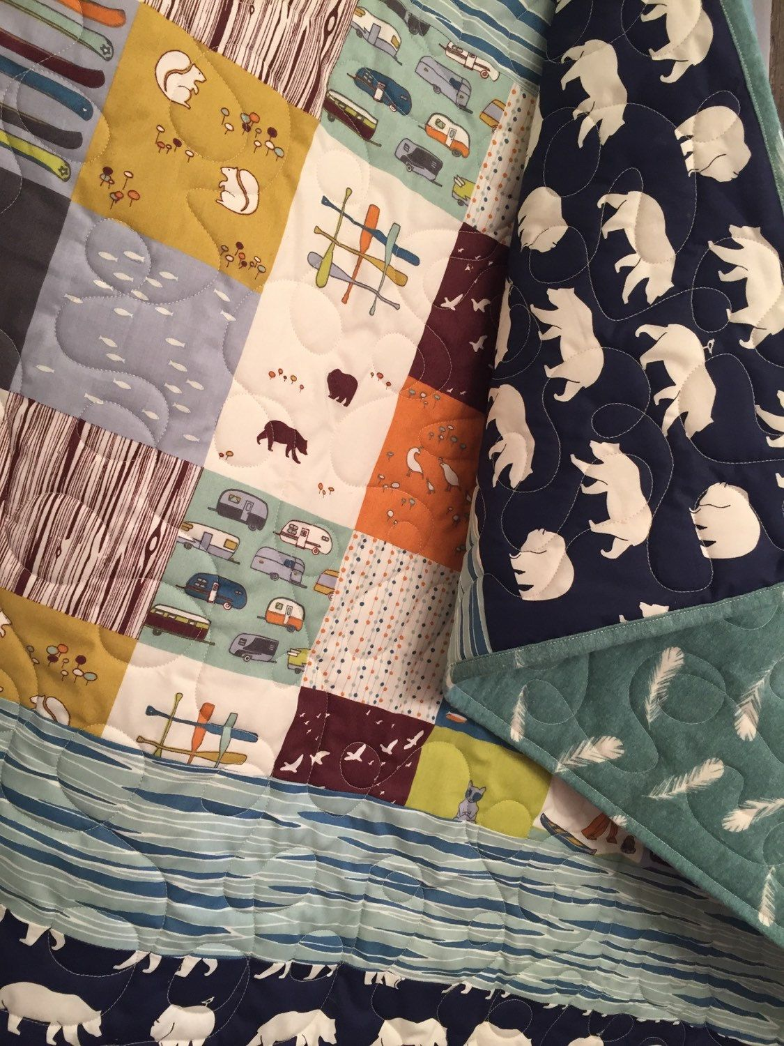 Woodland Baby Quilt, Organic Baby Quilt, Rustic Baby Quilt, Baby ... : organic baby quilts - Adamdwight.com
