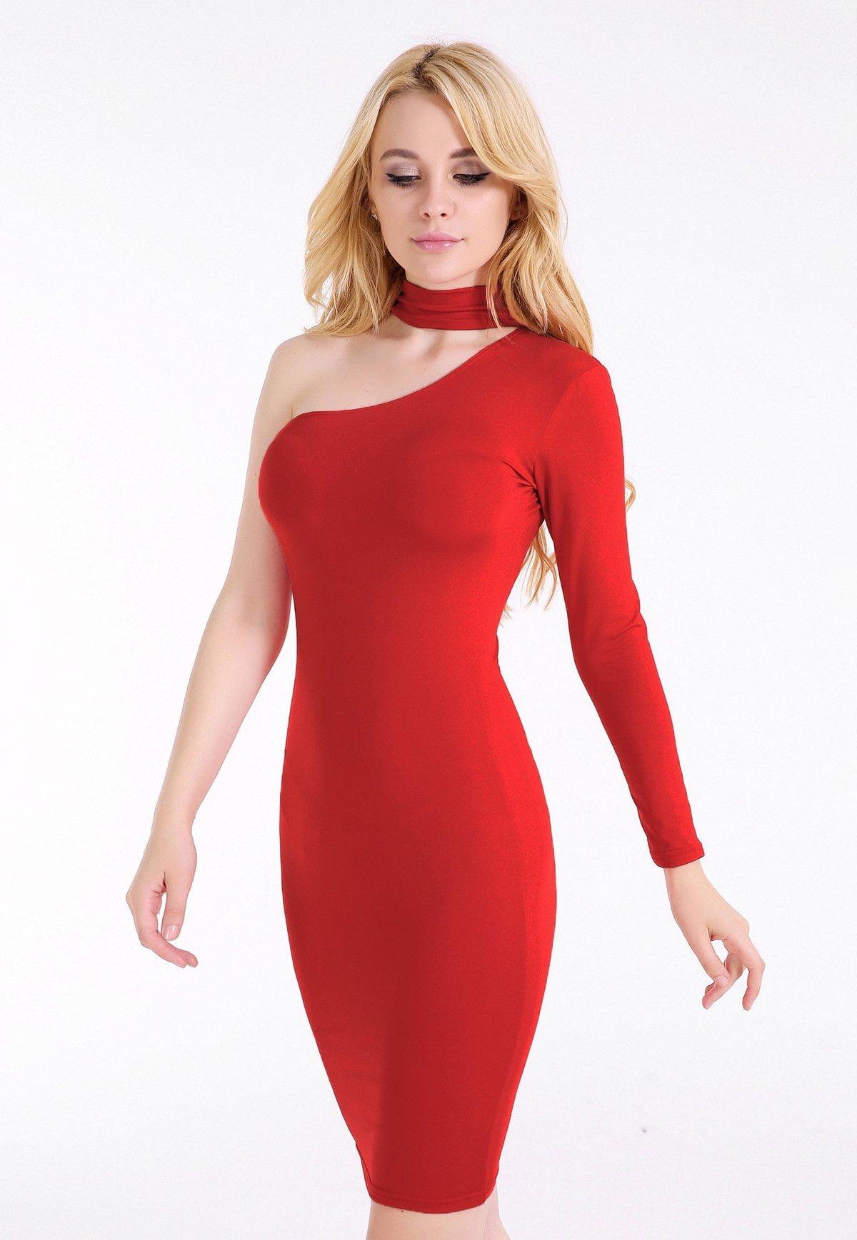 946a65e7d3 Halter One Shoulder Solid One Sleeve Long Dress | necklines ...