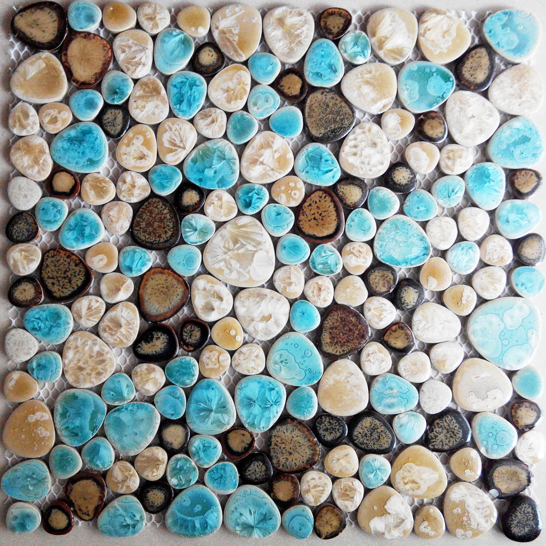Pebble bathroom floor tiles - Tst Porcelain Pebbles Fambe Bathroom Floor Nature Green Mosaic Tiles Wall Deco Http