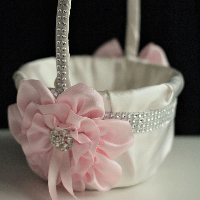 Blush Pink Basket Blush Flower Girl Basket Blush Wedding Basket