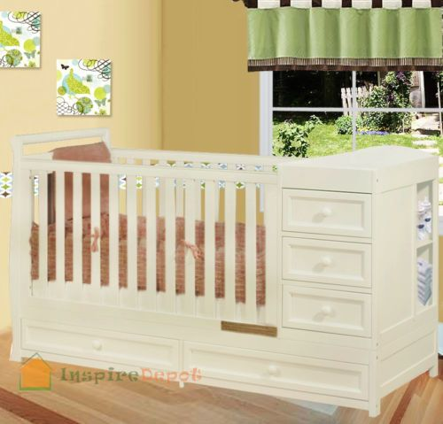 Ordinaire Multi Function White Solid Wooden Baby Crib Combo Dresser Changing Table Pad