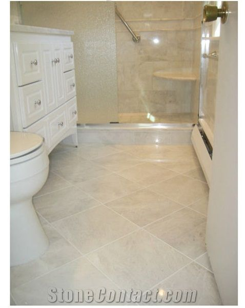 white marble floor with neutral bathroom Alpine White Marble Wall