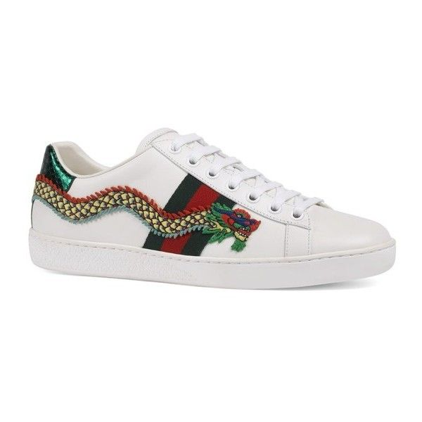 c763c441cd4 Gucci New Ace Dragon Leather Sneakers ( 790) ❤ liked on Polyvore featuring  shoes