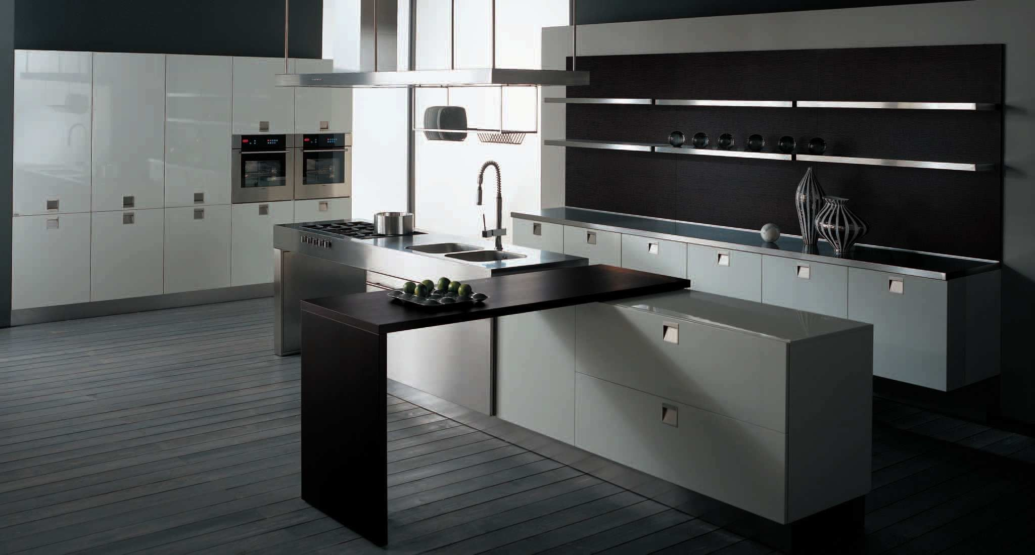 picture of modern kitchen design dark grey floor tiles | lovely