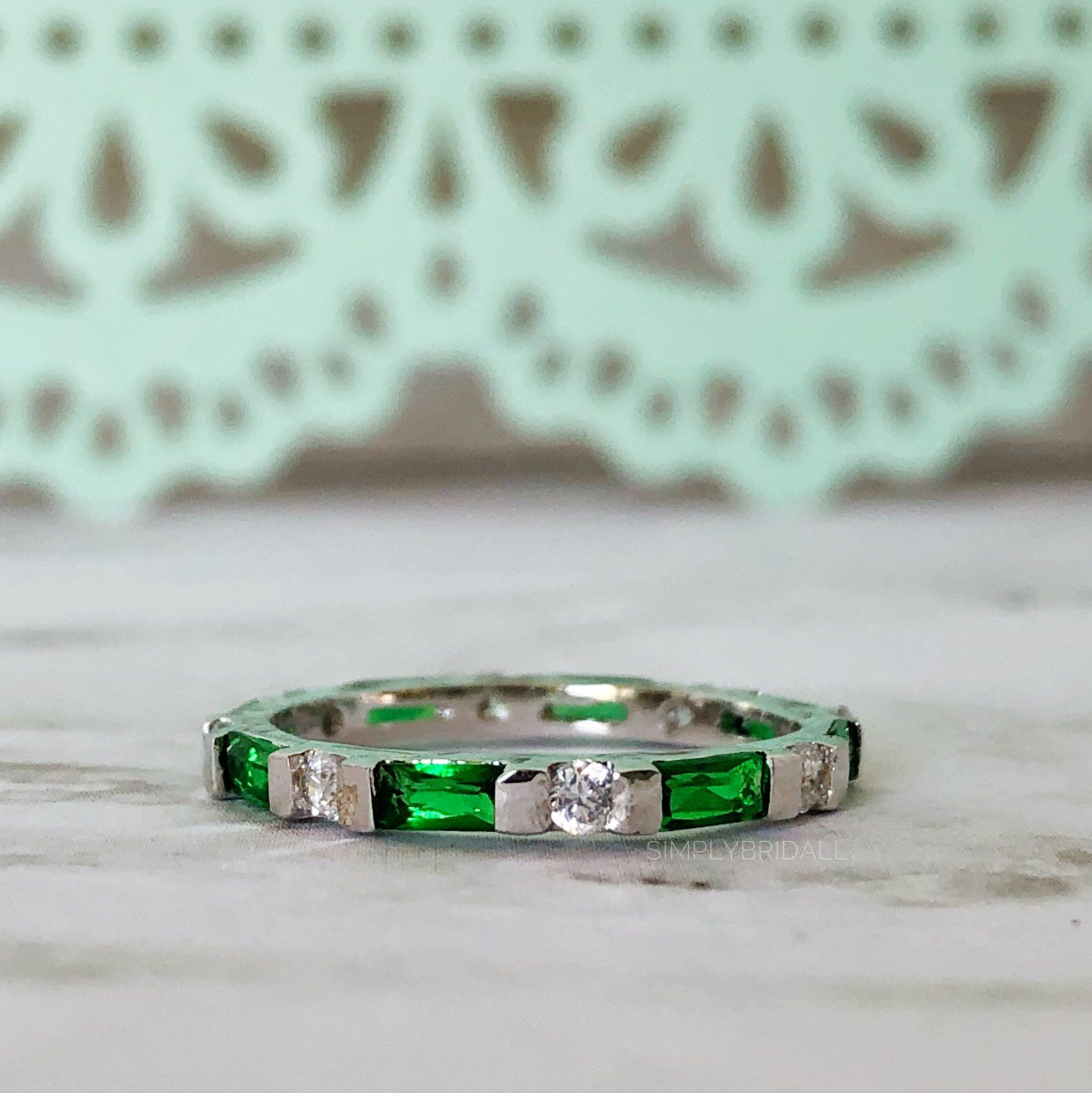 Green Emerald Eternity Band Sterling Silver Wedding Band Etsy Emerald Eternity Band Emerald Wedding Rings Silver Wedding Bands