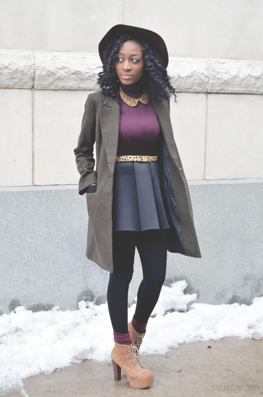 womens olive coat purple turtleneck navy skater skirt