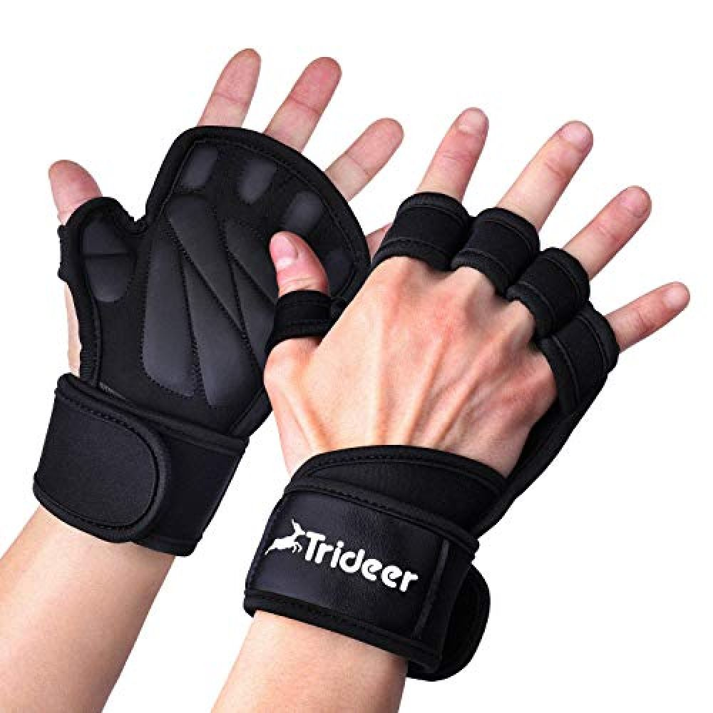 Trideer Ventilated Weight Lifting Gloves Exercise Gloves for Pull ups Powerlifting Workout Gloves with Extra Wrist Wraps Support Cross Training for Men /& Women Gym Gloves