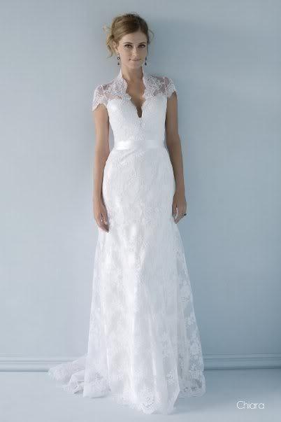 Lovely V-neck Short Sleeve White/Ivory Lace Wedding Dress Bridal ...