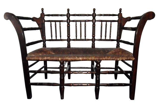 Antique Spindle Bench Settee Indoor Wicker Furniture Wicker Furniture Furniture