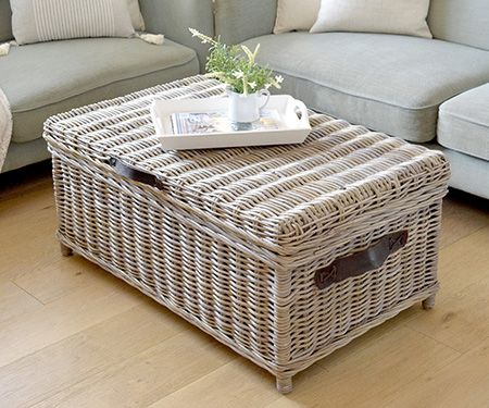 Rattan Trunk Coffee Table Antique Grey Cane With Straps