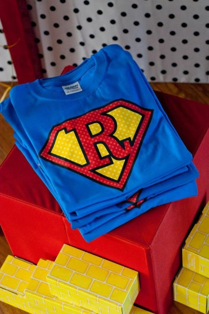 Custom Superhero Initial T-Shirts as favors for party guests