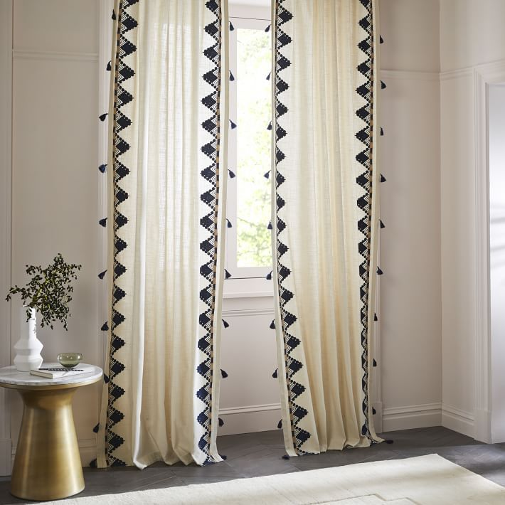 Embroidered Border Curtain With Images Plain Curtains
