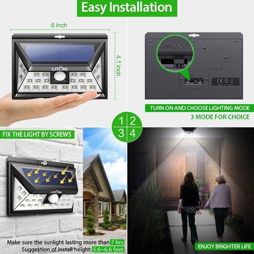 Litom Solar Lights Outdoor Wireless 24 Led Motion Sensor Solar Lights With Wide Lighting Area Easy Install Wa Outdoor Solar Lights Security Lights Solar Lights