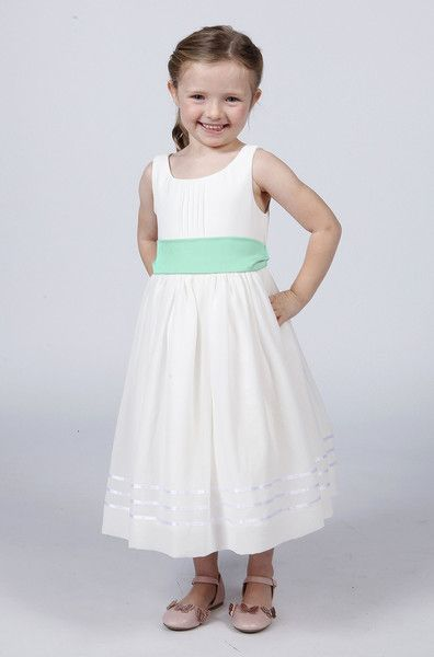 0f3350cbd Flower Girl Dress with Mint Green sash. just gorgeous for this summer! www. matchimony.co.uk