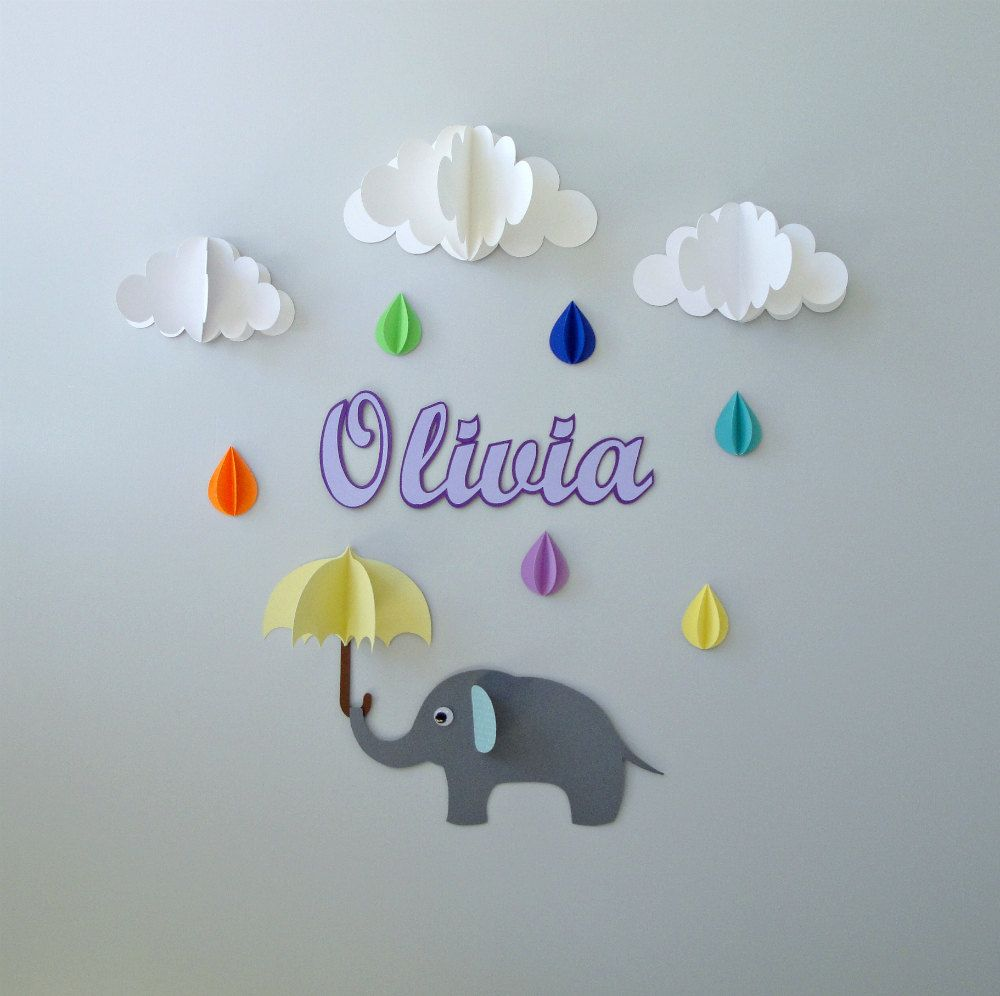 Custom Name Wall ArtElephant Raindrops And Clouds Wall Decor - Nursery wall decals clouds