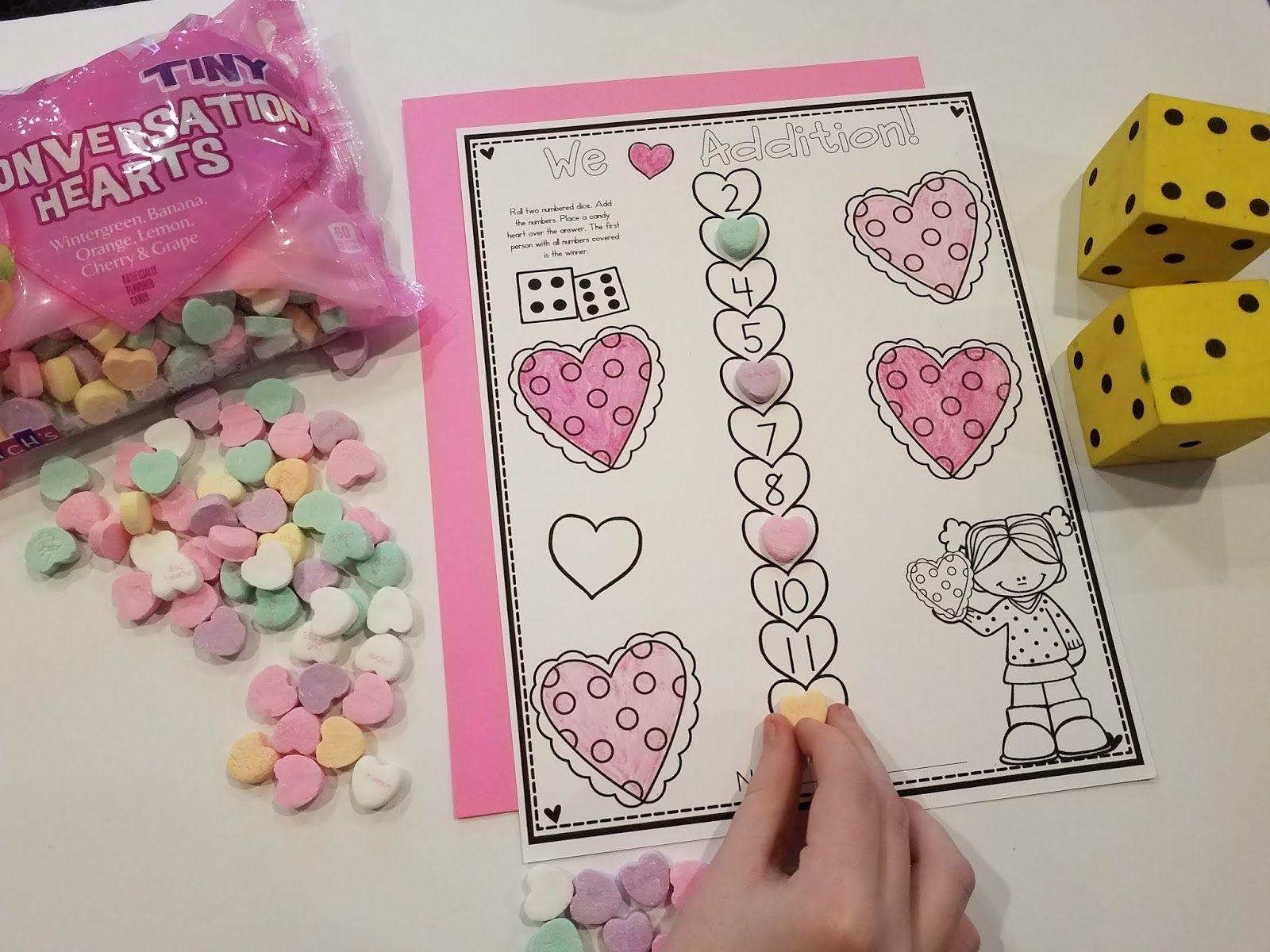 Candy Hearts Valentine Math Activities For Kindergarten