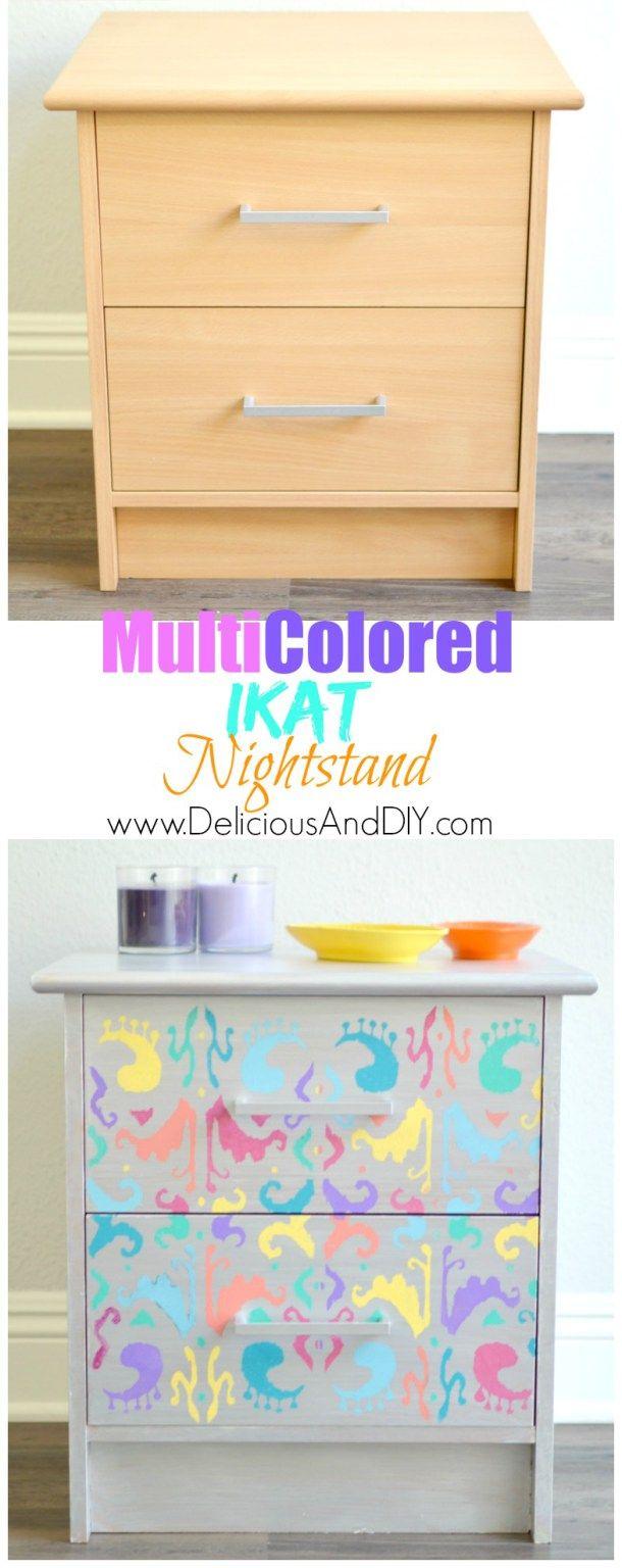 Multicolored Ikat Nightstand | Nightstands and Craft