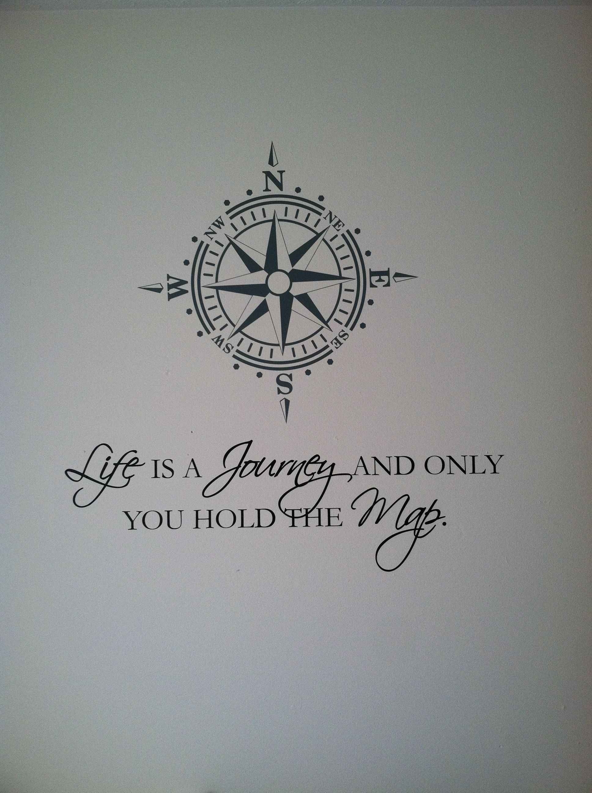 Compass Tattoo Line Drawing : New wall decal with quote and compass not a house home