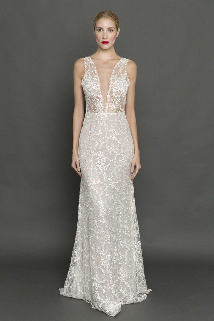 Francesca Miranda plunging neckline wedding dress | itakeyou.co.uk #weddingdress #weddingdresses #pluginneckline #bride #bridalgown #weddinggown #weddinggowns