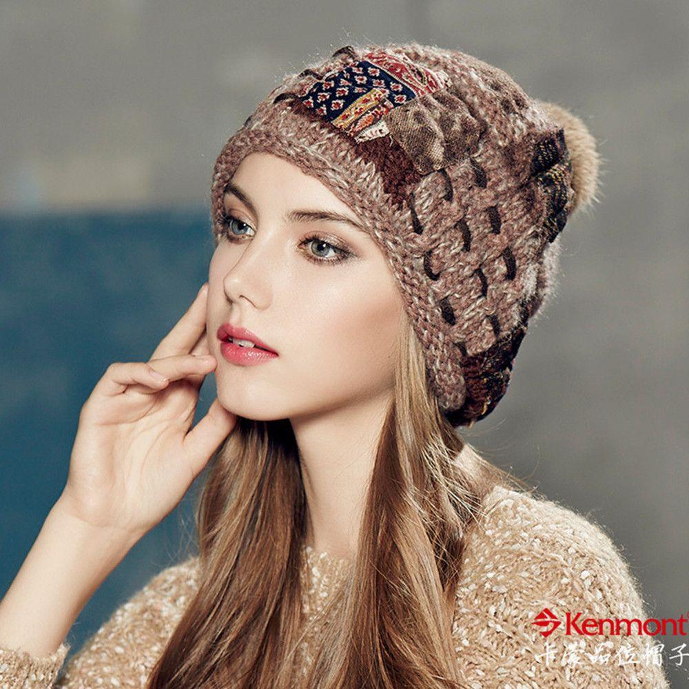 2a1134eaee6 Kenmont Autumn Winter Warm Women Girl Lady Jacquard Hand Knit Beanie Cap  Rabbit Fur Hair Ball Ski Cap 1635