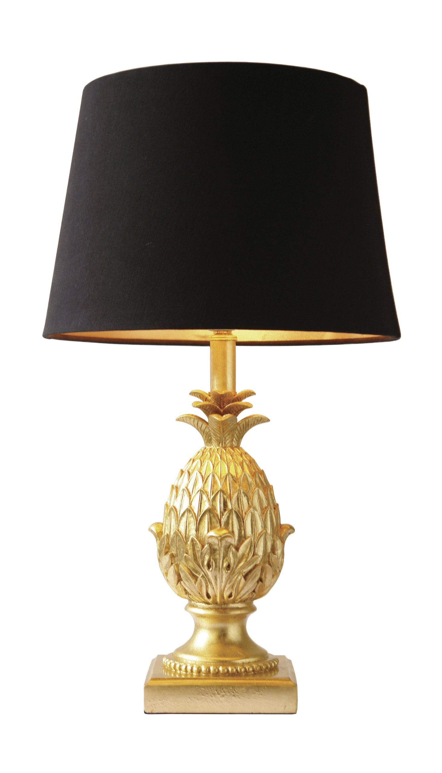 Pineapple Table Lamp with Black Shade