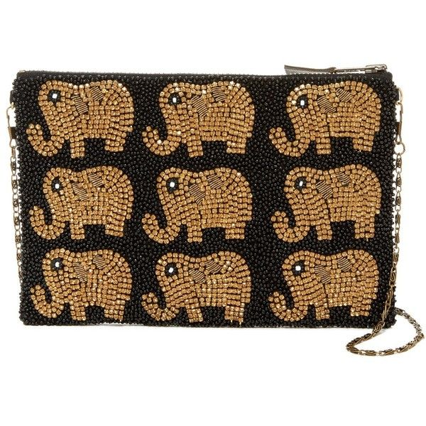 G-Lish Elephant Beaded Pouch (€33) ❤ liked on Polyvore featuring bags, handbags, clutches, black, chain strap handbags, zip pouch, beaded clutches, zip purse and elephant purse