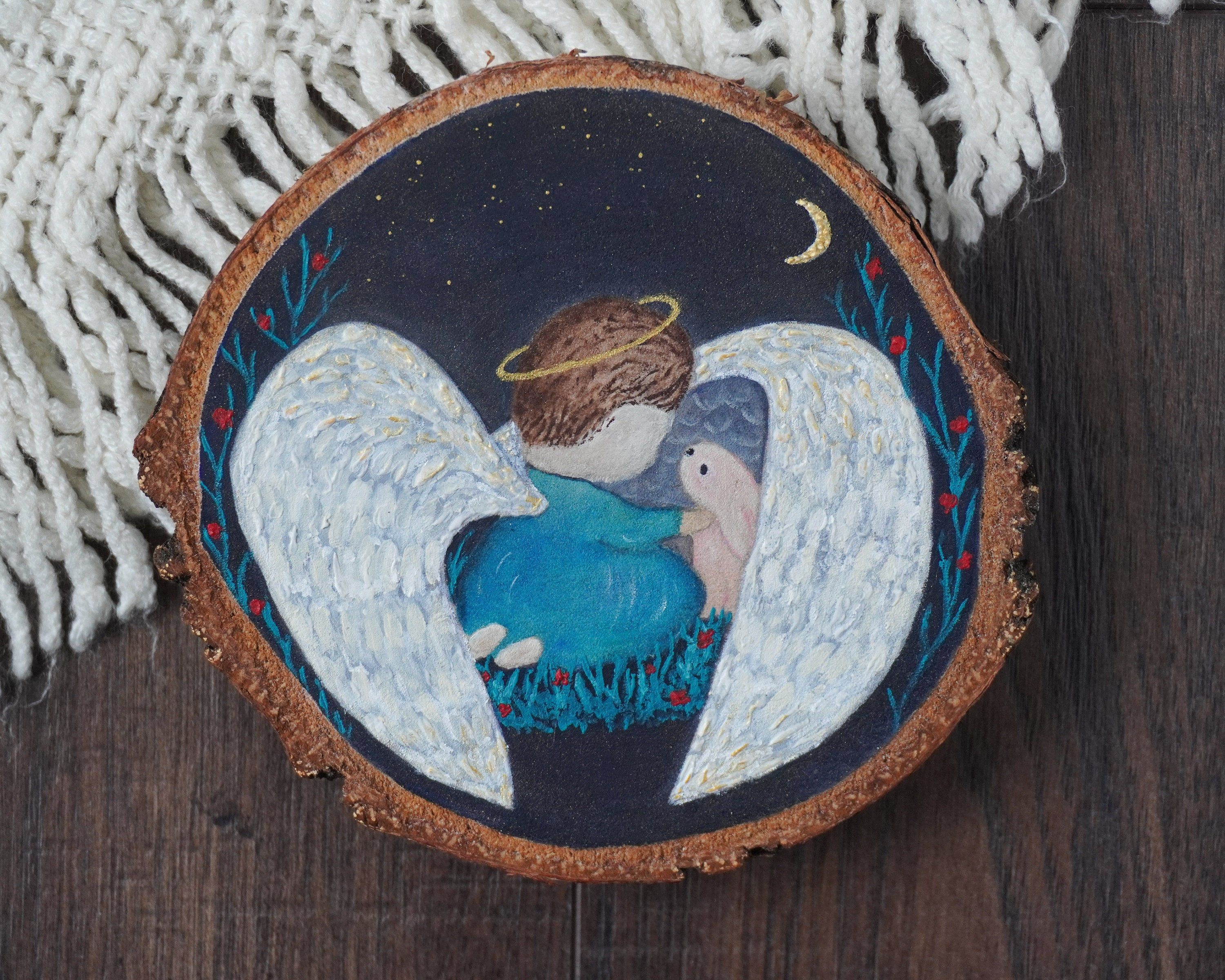 Painting Of Angel And Bunny On Wood Angel Painting Painting Etsy Angel Painting Magical Paintings Painting
