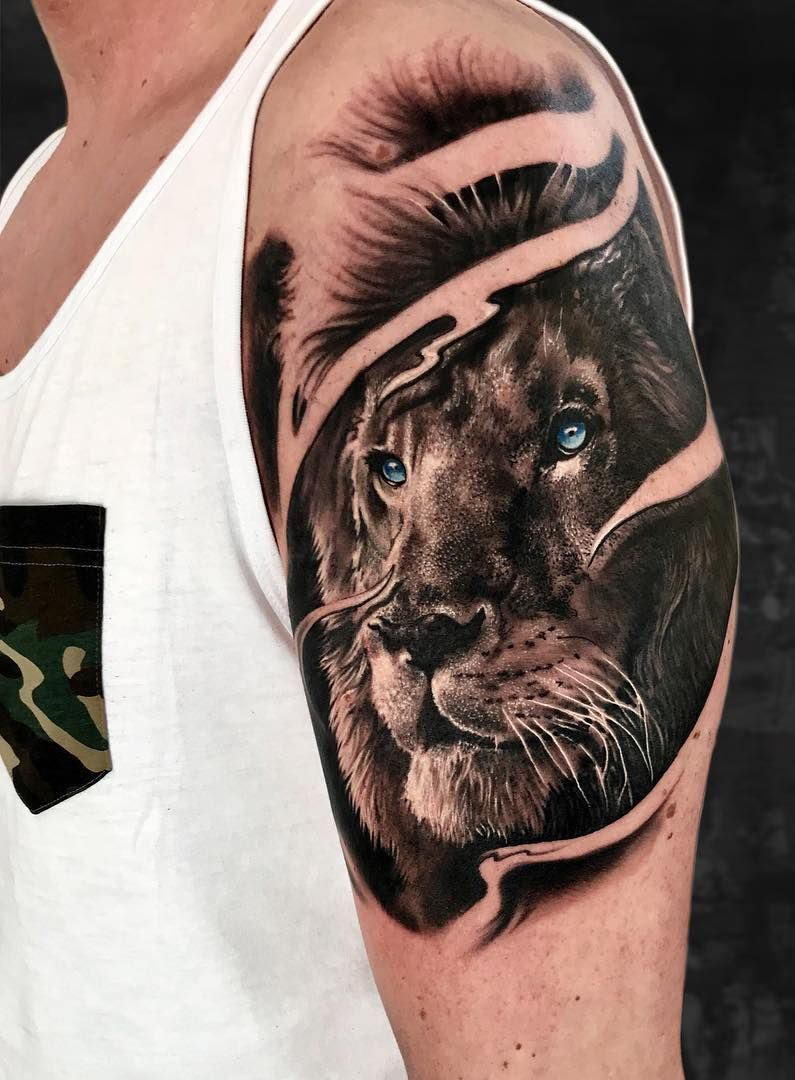 0fe0cc6c895cc most beautiful lion tattoo designs © Sviatoslav Poliakov tattoo artist  💛🐵💛🐵💛