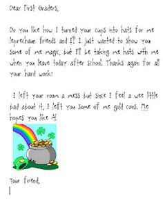 Image result for letter to class from leprechaun