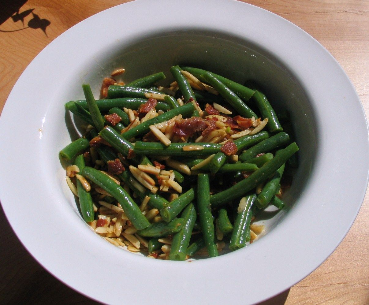 Fresh green beans with toasted slivered almonds bacon and