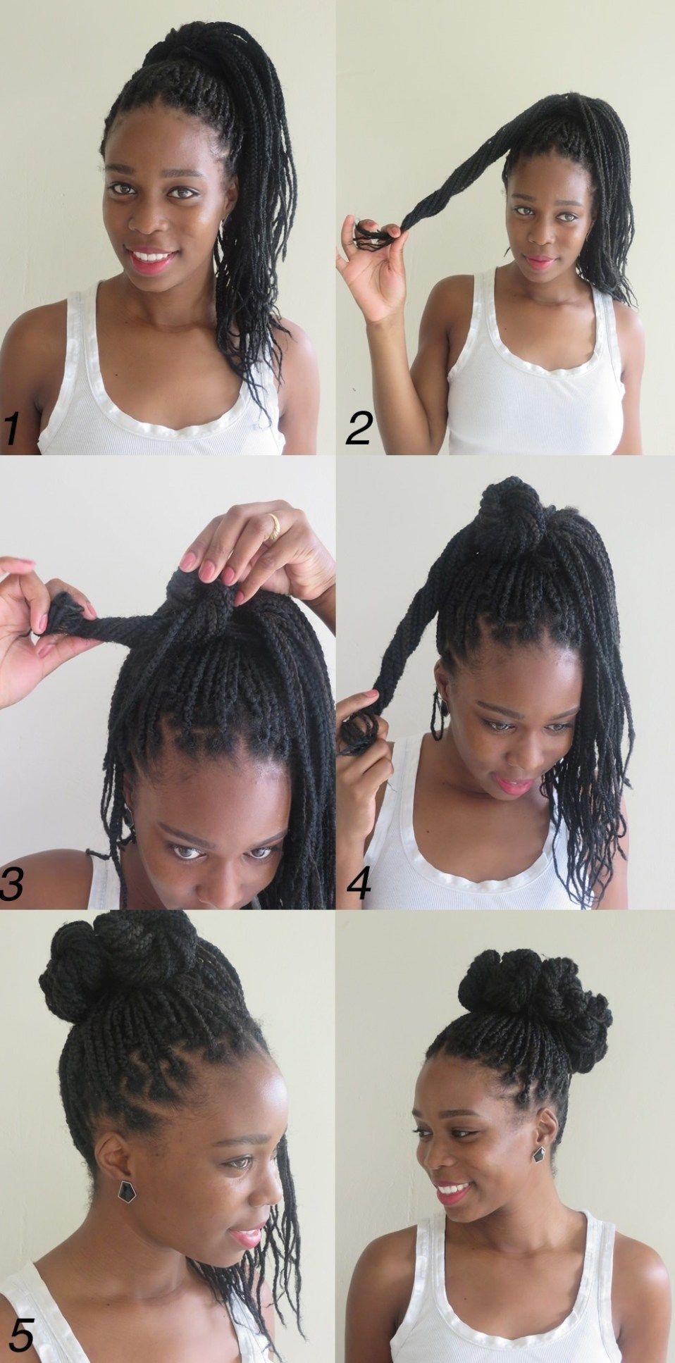 High box braids bun from mini buns braided hairstyles in