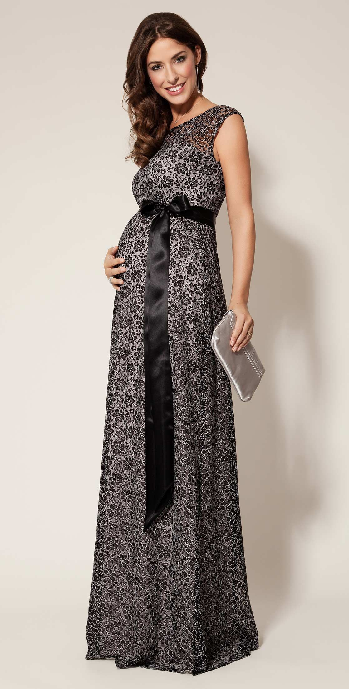 Daisy Maternity Gown Long Black and Silver by Tiffany Rose | I\'ve ...