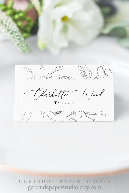 Reception Decor Calligraphy Escort Card Simple Wedding Place Card Elegant Watercolor Escort Card Blue Watercolor Slate Blue