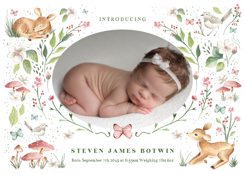 Little Forest Birth Announcement Template Greetings Island Baby Announcement Cards Birth Announcement Template Birth Announcement Card