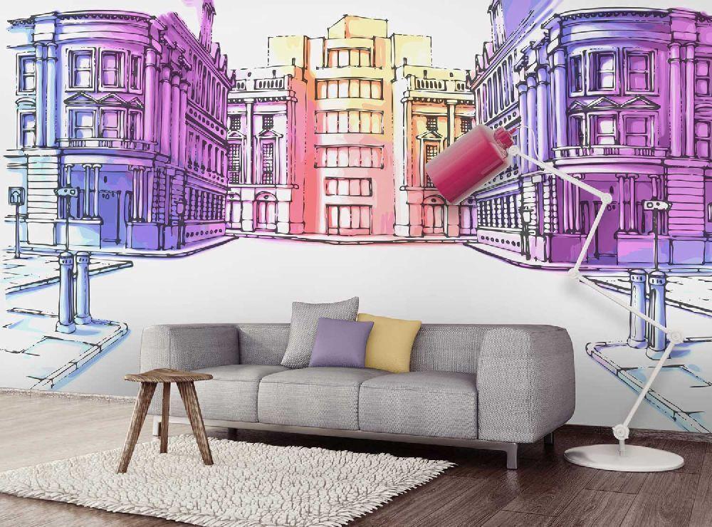 Papier peint panoramique 4 largeurs décor Pastel Street Pastels - Poser Papier A Peindre