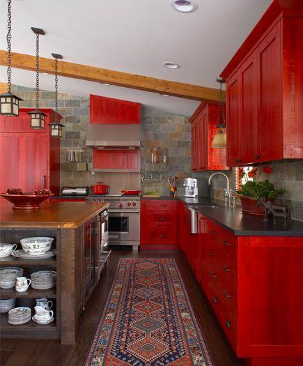 Rough Sawn Red Lacquered Cabinets, Quartizite Stone