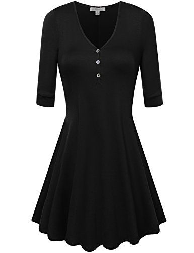 FPT Womens 3/4 Sleeve Rayon Henley A-Line Tunic *** CONTINUE @ http://www.eveningdressesoutlet.com/store/fpt-womens-34-sleeve-rayon-henley-a-line-tunic/?a=9104