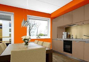 Farbgestaltung Für Ein Küche In Violett, Kombiniert Mit Den Farben Blau Und  Grau.