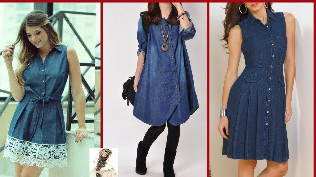 85cbb1870f7 Jeans Short Frocks/Jeans Shirt Women/Stylish Short Jeans Shirts Design F..