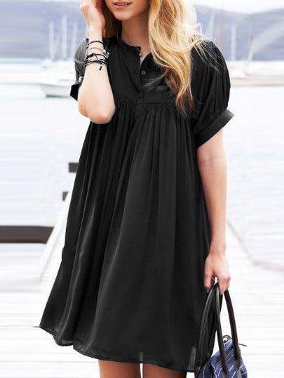 Kleid Kurzarm Mit Knopfe Schwarz Lassige Schwarze Kleider Schwarzes Kleid Outfits Kleider Mit Leggings