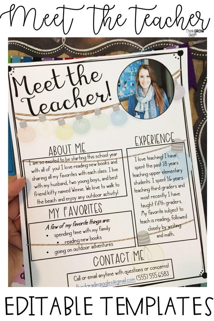 Meet the Teacher Templates EDITABLE #meettheteachernight