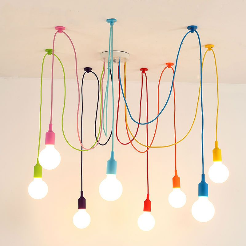 Art Colorful Pendant Lights Diy Spider Chandelier Silicone Hanging