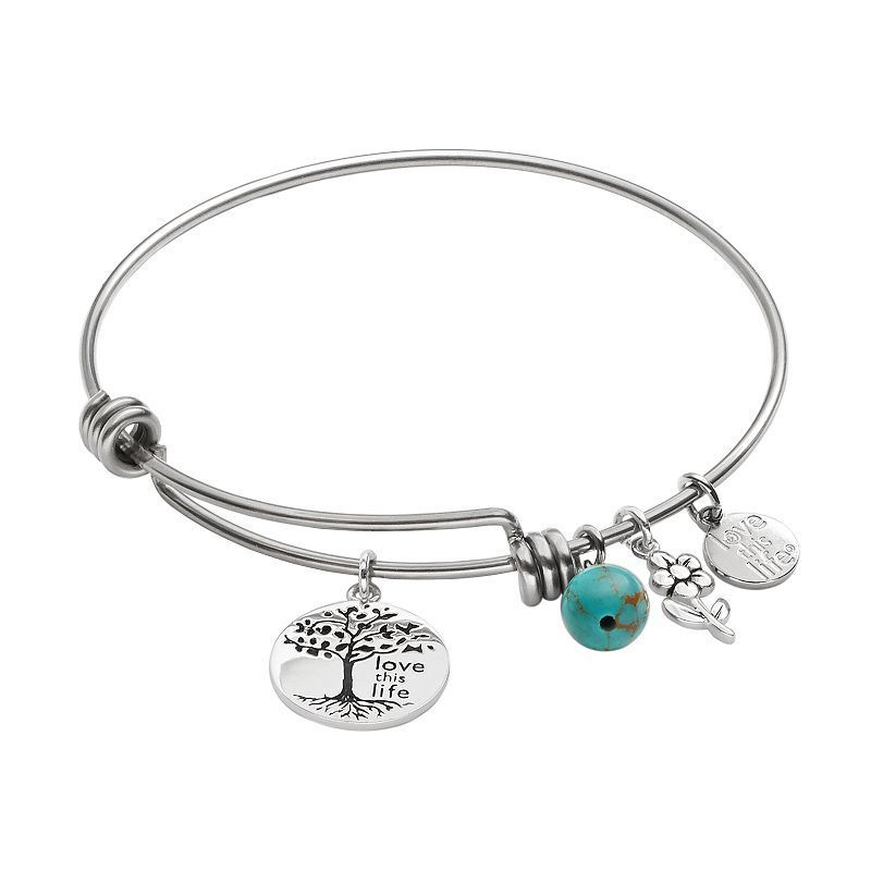 love this life Silver-Plated and Stainless Steel Simulated Turquoise Bead and Tree Charm Bangle Bracelet, Women's, Blue