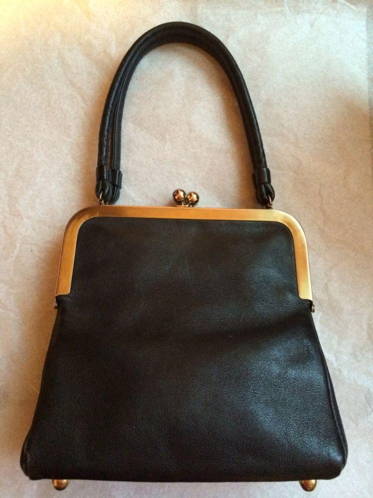 Bonnie Cashin Vintage Double Kisslock Black Leather Purse Coach Purses Frame