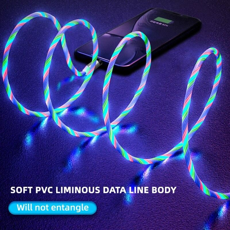 Pmxbt Flowing Light Magnetic Usb Cable Led Lighting Micro Usb Type C Cable For Iphone 11 Samsung Xiaomi Phone Magnetic Charger Cable Micro Usb Magnetic Charger