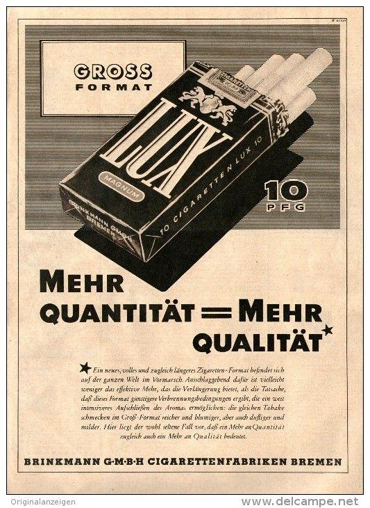 Original Werbung Inserat Anzeige 1951 1 1 Seite Lux Cigaretten Ca 200 X 270 Mm Werbung Alte Werbung Werbeplakat