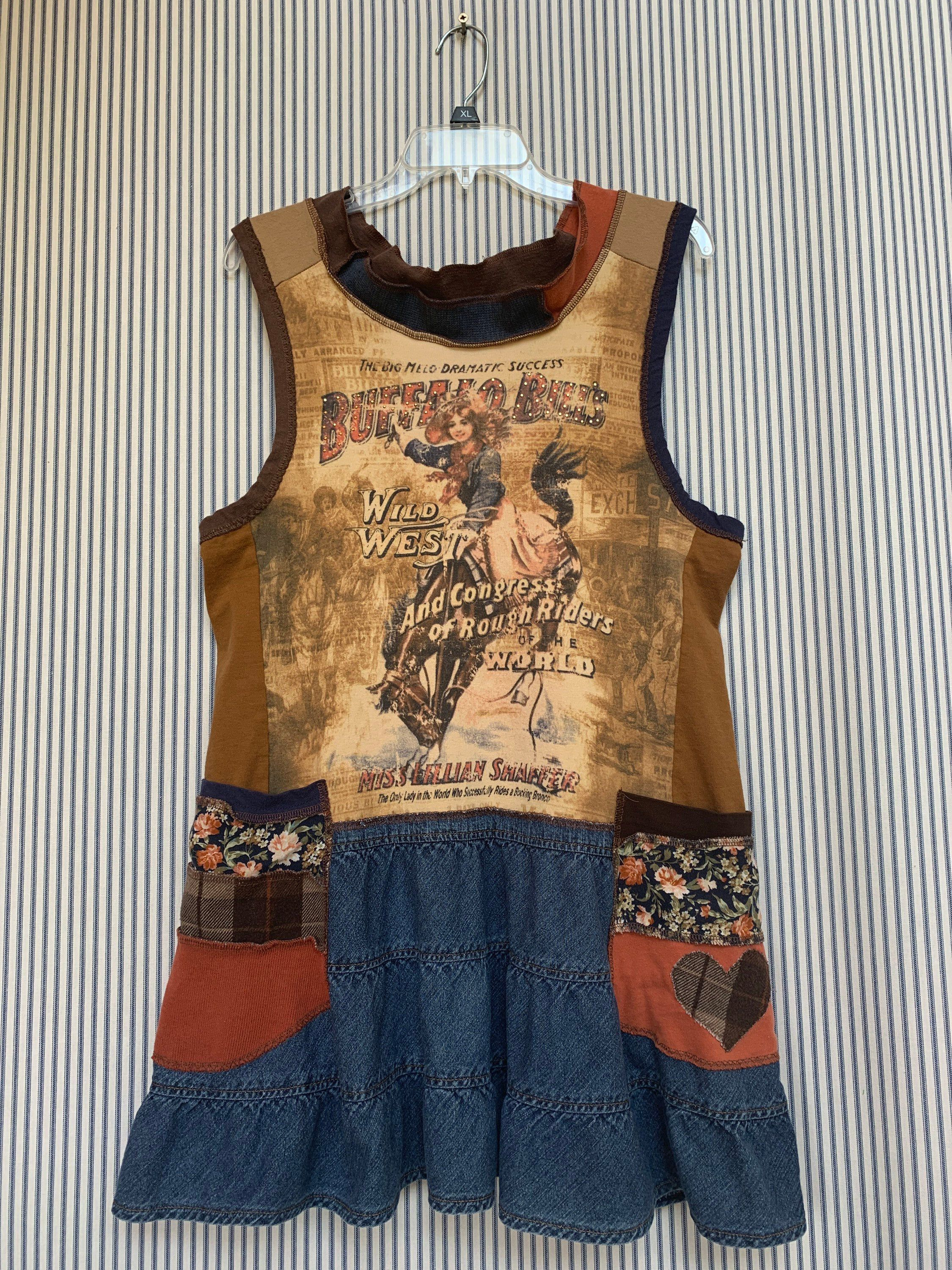 Up-cycled Cow girl shirt