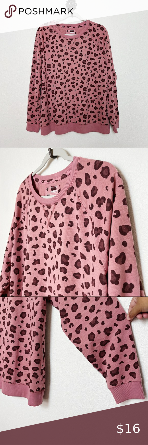 Sonoma Pink Leopard Print Crewneck Sweatshirt Xxl Pink Leopard Print Crew Neck Sweatshirt Pink Leopard [ 1740 x 580 Pixel ]