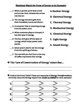 TEST: Forms of Energy & Energy Transformations | Earth science ...