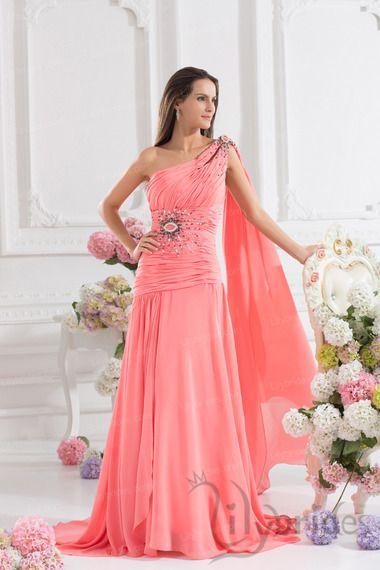 sheath/column one shoulder chiffon prom dress